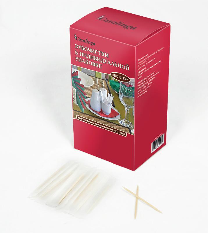 Casalinga Зубочистки в индивидуальной упаковке, 1000 шт., в коробке Х-355