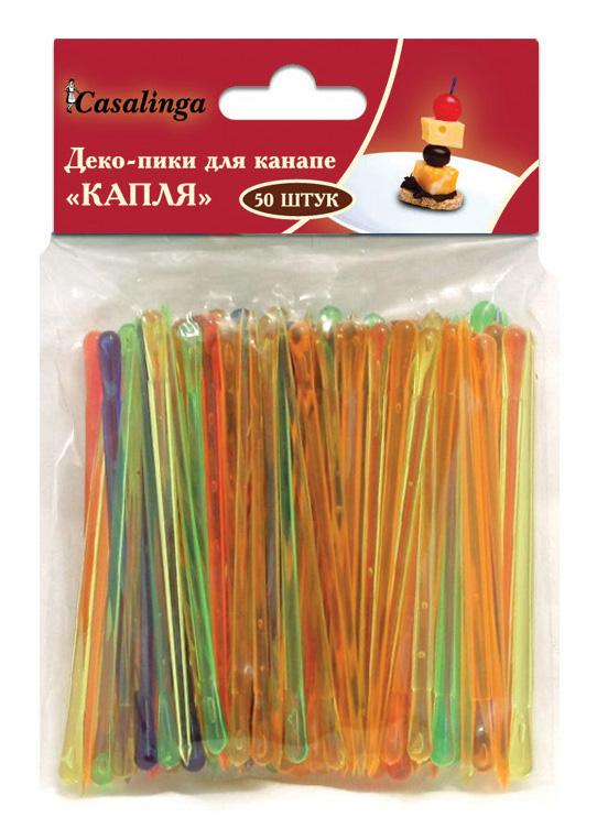 Casalinga Деко-пики для канапе «КАПЛЯ», пищевой пластик, цветные Х-034