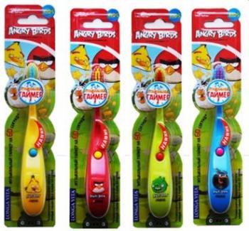 Longa Vita LONGA VITA детская зубная щетка Angry Birds мигающая на присоске от 3-х лет, TWA-1ет, TWA-1, 127819