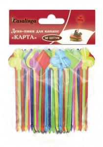 Casalinga Деко-пики для канапе «КАРТА», пищевой пластик, цветные Х-033 купить