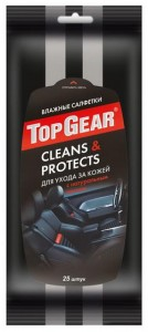 Top Gear Авангард Влажные салфетки TOP GEAR Cleans & Protects для ухода за кожей с натуральным воском купить